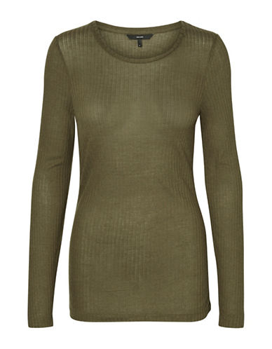 Vero Moda Round Neck Long Sleeve Top-DARK OLIVE-Medium