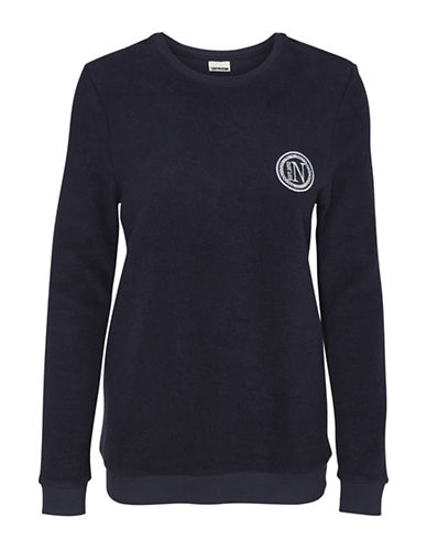 Noisy May Iceland Long Sleeve Cotton Sweatshirt-NAVY BLAZE-Small