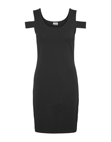 Noisy May Laila Cold-Shoulder Short Dress-BLACK-Large