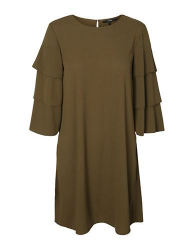 Vero Moda Bea Tiered Sleeve Dress-DARK OLIVE-Medium