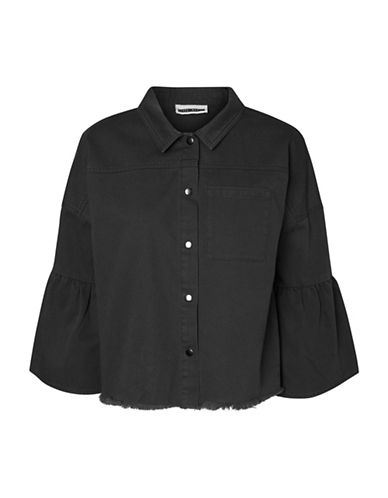 Noisy May Celeste Volume Cotton Shirt-BLACK-X-Small