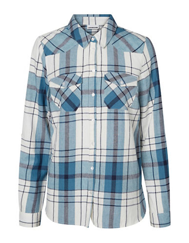 Noisy May Classic Plaid Cotton Collared Shirt-BLUESTONE-Small