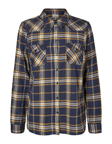 Noisy May Classic Plaid Cotton Collared Shirt-NAVY BLAZE-Large
