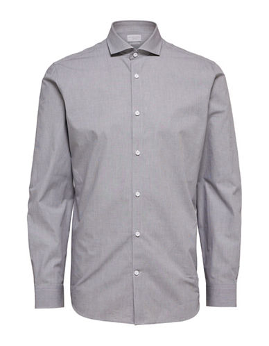 Selected Homme Casual Cotton Sport Shirt-GREY-X-Large
