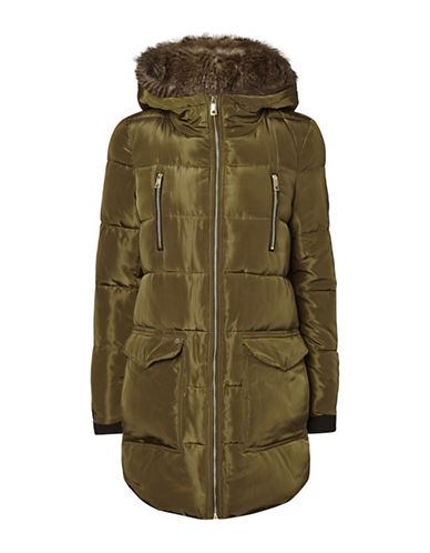 Vero Moda Faux Fur Hooded Jacket-DARK OLIVE-X-Small
