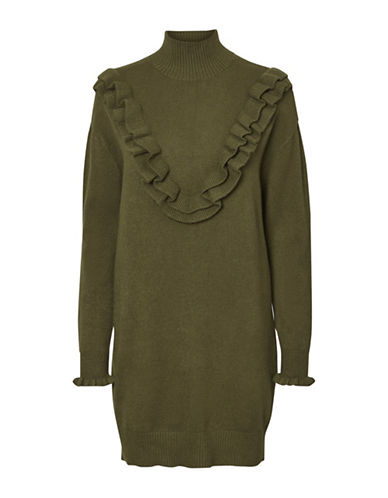Vero Moda Brawley Rib-Knit Dress-DARK OLIVE-X-Small