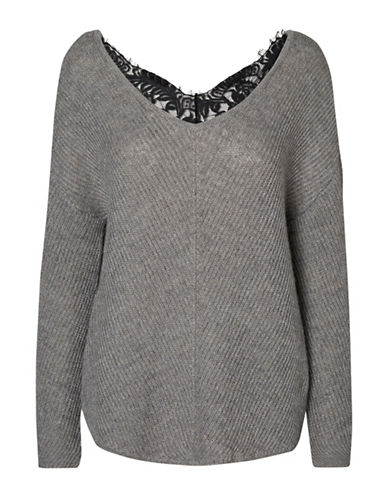 Vero Moda Buena Lena V-Neck Top-GREY-Small