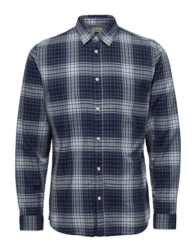 Selected Homme Check Button-Down Shirt-BLUE-Large