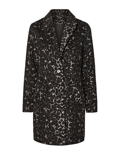 Vero Moda Leoparda Wool-Blend Jacket-BLACK-Large