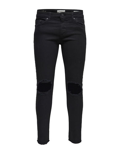 Only And Sons Ripped Skinny Jeans-BLACK-32X34