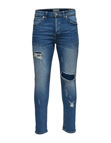 Only And Sons Destroyed Regular Jeans-BLUE-28X32