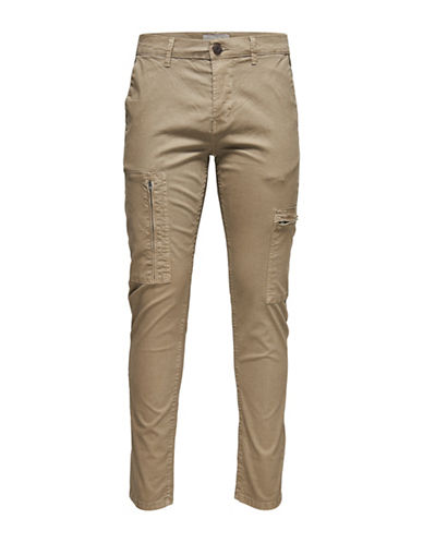 Only And Sons Slim Khaki Cargo Pants-GREY-32X32