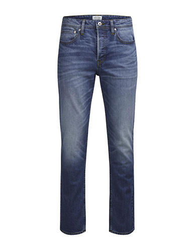Jack & Jones Washed Slim-Fit Jeans-BLUE-29X32