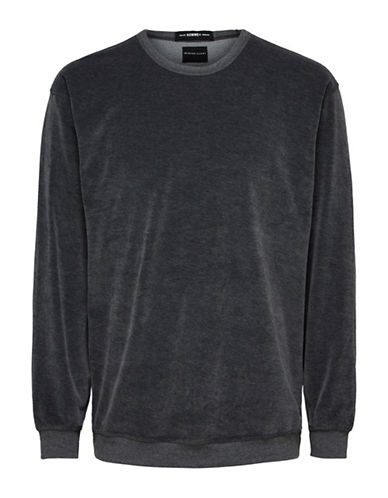 Selected Homme Velvet Crew Sweatshirt-GREY-Large