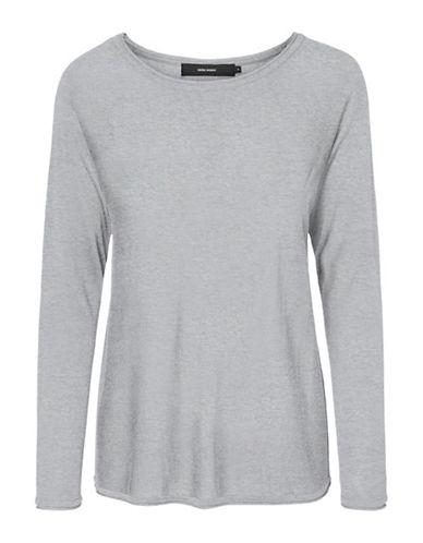 Vero Moda Boatneck Long Sleeve Blouse-GREY-X-Small
