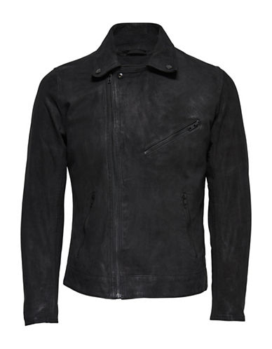 Only And Sons Biker Real Leather Jacket-BLACK-Medium
