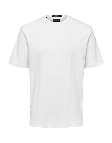 Selected Homme Oversized Cotton Tee-WHITE-Large 89615866_WHITE_Large
