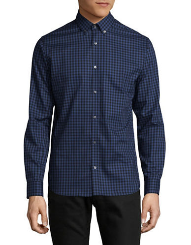 Jack And Jones Premium Checkered Cotton Sport Shirt-NAVY-Small