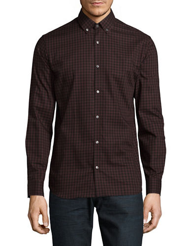 Jack And Jones Premium Checkered Cotton Sport Shirt-RED-Small