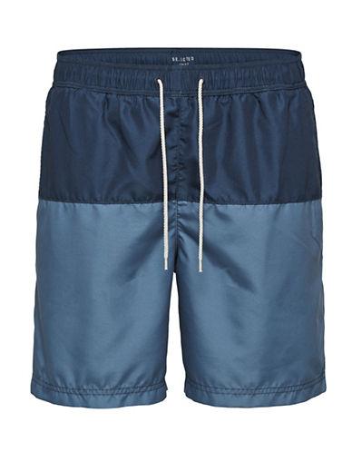 Selected Homme Striped Swim Shorts-BLUE-Medium 89847954_BLUE_Medium