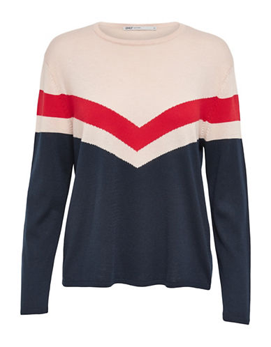 Only Colourblock Pullover-CLOUD DANCER-Large
