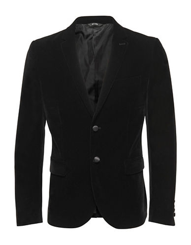 Only And Sons Velvet Tuxedo Blazer-BLACK-52