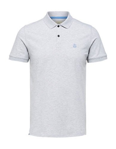 Selected Homme SHHARO Embroidered Polo-LIGHT GREY-X-Large
