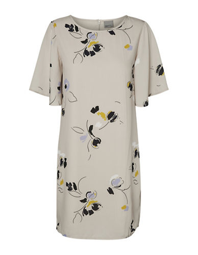 Vero Moda Karma Printed Dress-BEIGE-X-Small