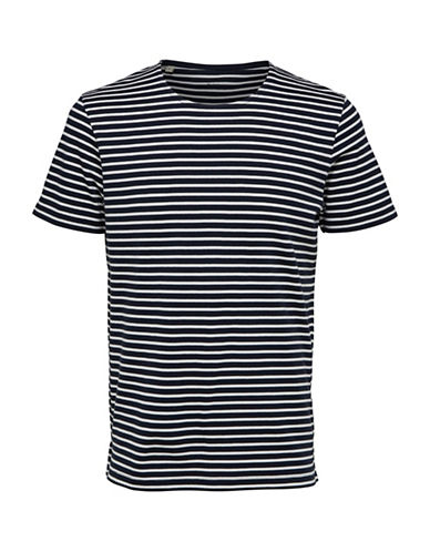 Selected Homme Striped Crewneck Tee-BLUE-Large 89795532_BLUE_Large