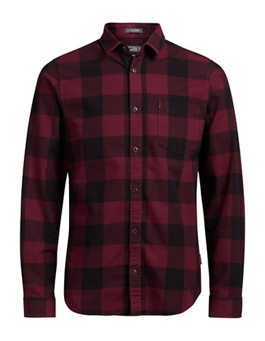 Jack & Jones Chequered Cotton Dress Shirt-RED-Large