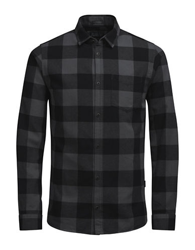 Jack & Jones Chequered Cotton Dress Shirt-GREY-Medium