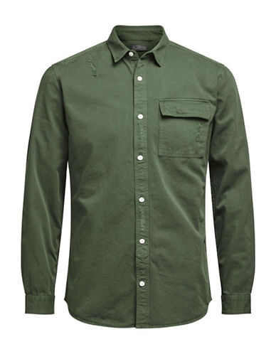 Jack & Jones Distressed Cotton Button-Down Shirt-GREEN-Large