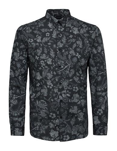 Selected Homme Floral Cotton Shirt-BLACK-Medium