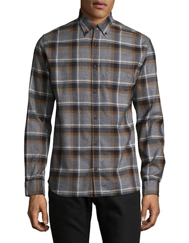 Jack And Jones Premium Plaid Cotton Sport Shirt-GREY-Small