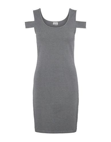 Noisy May Laila Cold-Shoulder Short Dress-MEDIUM GREY-Small