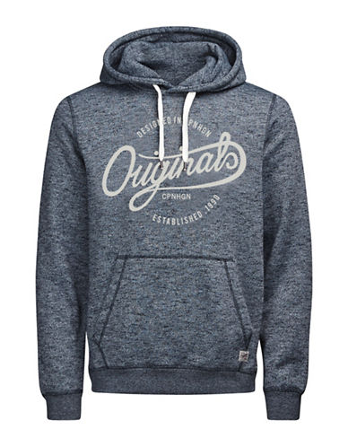 Jack & Jones Textured Drawstring Hoodie-BLUE-Large