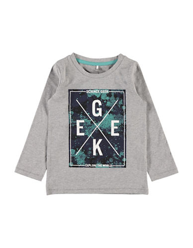 Name It Little Boys Science Geek Long Sleeve Tee-GREY-3