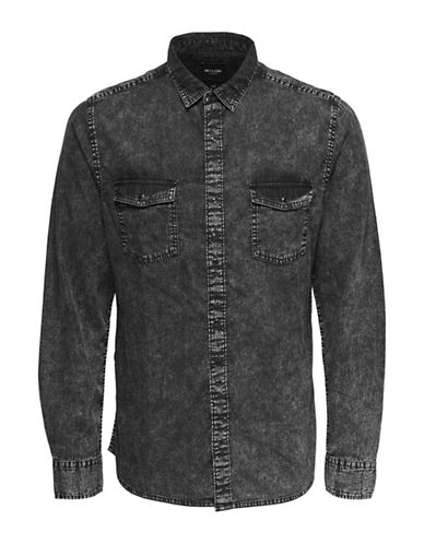 Only And Sons Washed Out Denim Sport Shirt-GREY-Small