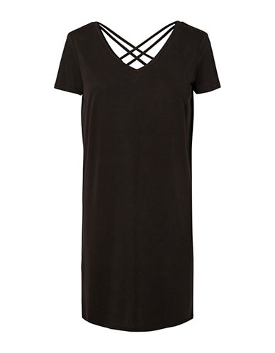 Vero Moda V-Neck Short Sleeve Dress-BLACK-Large