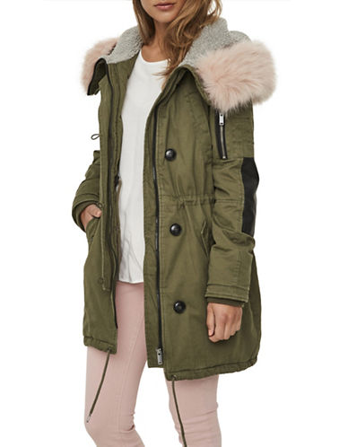 Vero Moda Faux Fur Hooded Jacket-GREEN-Medium