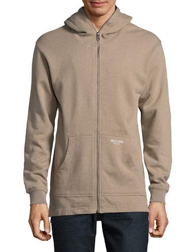 Only And Sons Onsclaus Longline Zip Hoodie-BEIGE-Large