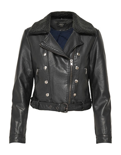 Only Faux Shearling Trimmed Jacket-BLACK-34