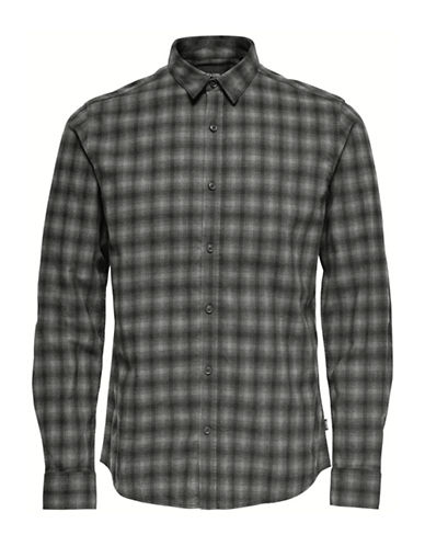 Only And Sons Plaid Cotton Sport Shirt-GREY-Small