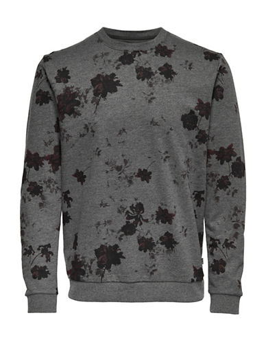 Only And Sons Floral Crew Neck Sweatshirt-BLACK-Large 89571525_BLACK_Large