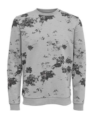 Only And Sons Floral Crew Neck Sweatshirt-GREY-Large