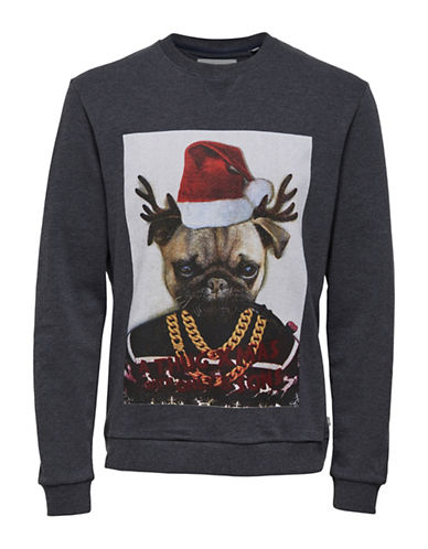 Only And Sons Pug Christmas Sweater-BLUE-X-Large