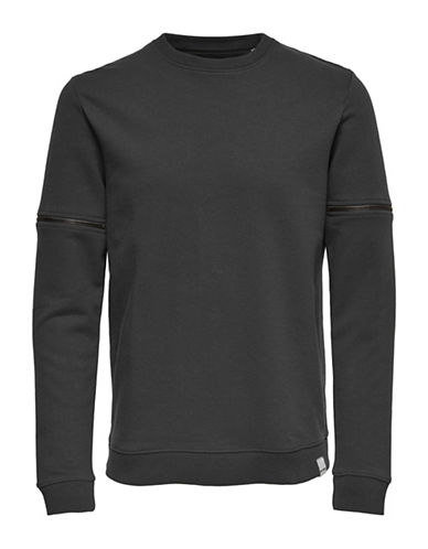 Only And Sons Cotton Sweatshirt-DARK GREY-XX-Large
