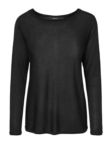 Vero Moda Boatneck Long Sleeve Blouse-BLACK-Large