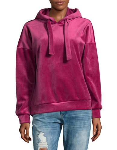 Only Velvet Hooded Sweatshirt-RED-Small