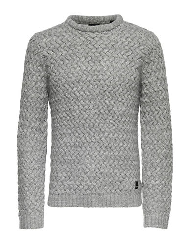 Only And Sons Textured Crew Neck Sweater-GREY-Large
